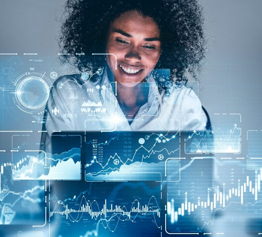 Smiling African woman with laptop, infographics