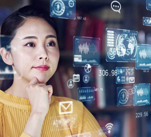 System engineering concept. Female programmer. Software development. Digital transformation.