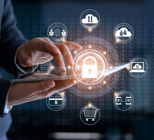 Cyber Security. Businessman using tablet technology and icon customer network connection and exchange data on the virtual display. Cyber attack concept